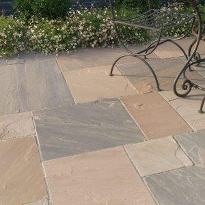 sandstone raj brown blend paving pack 18mm calibrated